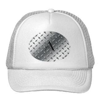 Diamond silver plate steel monogram hats