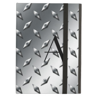 Diamond silver plate steel monogram iPad air cover