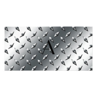 Diamond silver plate steel monogram photo cards