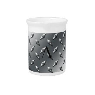 Diamond silver plate steel monogram beverage pitchers