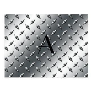 Diamond silver plate steel monogram post cards