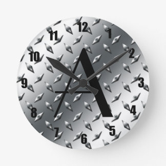 Diamond silver plate steel monogram round clock