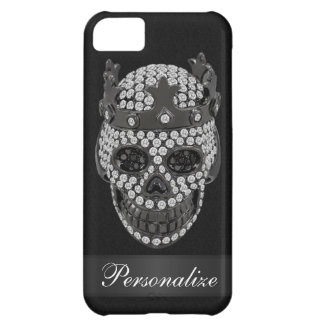 Diamond Skull Print with Crown Black iPhone 5 Case