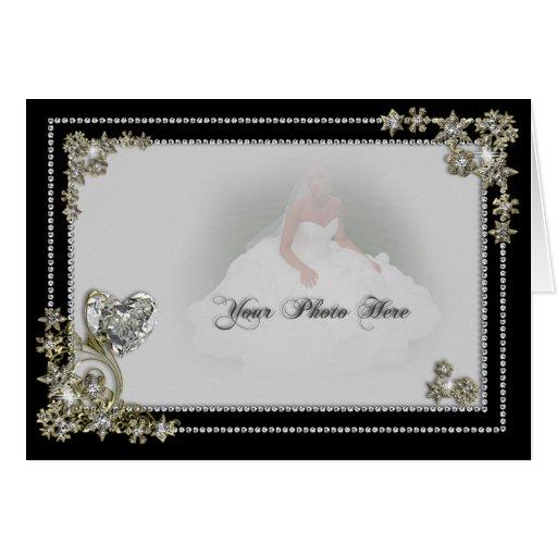 Diamond Snow Flake & Heart Winter Photo Card