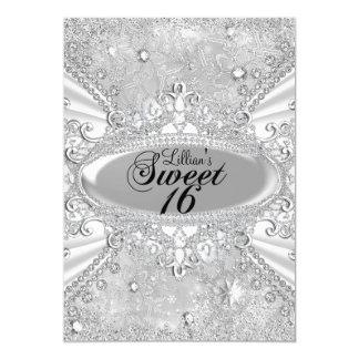 Diamond Snowflake Winter Wonderland Sweet 16 5x7 Paper Invitation Card
