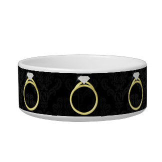 Diamond Solitaire Ring Cat Water Bowl