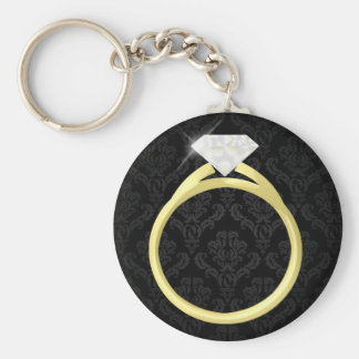 Diamond Solitaire Ring Key Chains