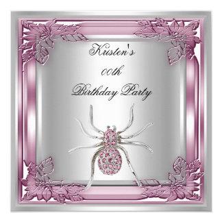 Diamond Spider Elite Elegant Birthday Party Pink Card