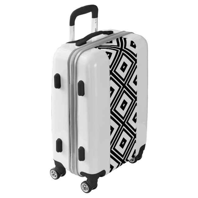 Diamond Square Pattern in Black and White Luggage