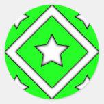 Diamond Star Design Green Sticker