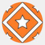 Diamond Star Design Orange Stickers