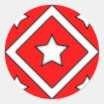 Diamond Star Design Red Round Sticker