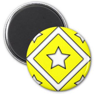 Diamond Star Design Yellow 2 Inch Round Magnet