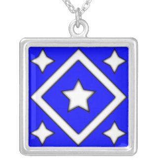 Diamond Star Necklace Blue