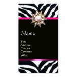 DIAMOND STAR PINK BLACK WHITE ZEBRA FUR MONOGRAM Double-Sided STANDARD BUSINESS CARDS (Pack OF 100)