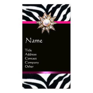 DIAMOND STAR PINK BLACK WHITE ZEBRA FUR MONOGRAM BUSINESS CARD