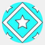 Diamond Star Stickers Cyan