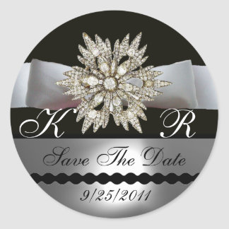 DIAMOND STARS BLACK WHITE RIBBON MONOGRAM CLASSIC ROUND STICKER