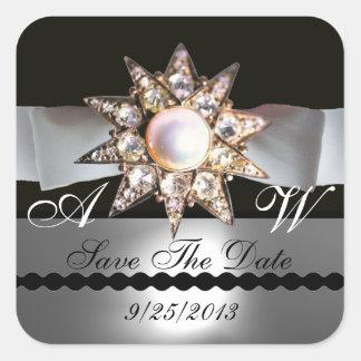 DIAMOND STARS BLACK WHITE RIBBON MONOGRAM SQUARE STICKER