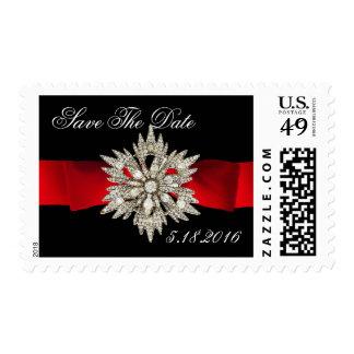 DIAMOND STARS MONOGRAM BLACK WHITE RED RIBBON POSTAGE