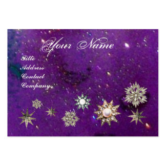 DIAMOND STARS MONOGRAM,purple blue sparkles Business Card Templates