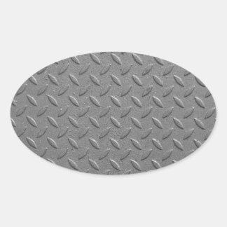 Diamond steel oval sticker
