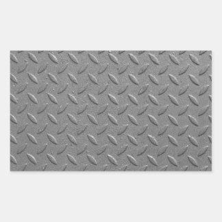 Diamond steel rectangular sticker