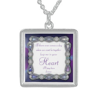 Diamond Sterling Silver Square necklace with Quote