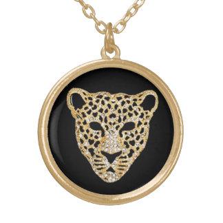 Diamond-Studded Jaguar Round Pendant Necklace