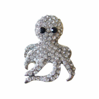Diamond-Studded Octopus Pin Statuette