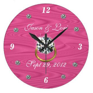 Diamond Studded Wedding Clock- customize Large Clock