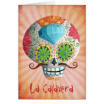 Diamond Sugar Skull with Mustaches Greeting Card