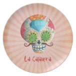 Diamond Sugar Skull with Mustaches Plate