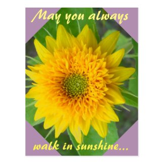Diamond Sunflower with inspiring message postcard