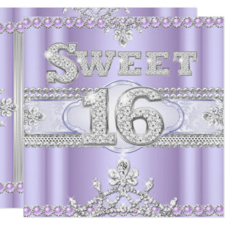 Diamond Sweet 16 Sixteen Party Purple Lilac Card