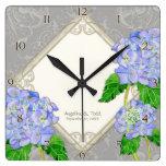 Diamond Swirl Blue Hydrangea Wedding Anniversary Square Wall Clock