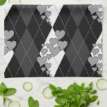Diamond Swirling Hearts Argyle (Black And White) Towel