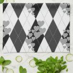 Diamond Swirling Hearts Argyle (Black And White) Towel