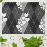 Diamond Swirling Hearts Argyle (Black And White) Hand Towels