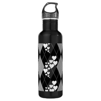 Diamond Swirling Hearts Argyle (Black And White) Stainless Steel Water Bottle