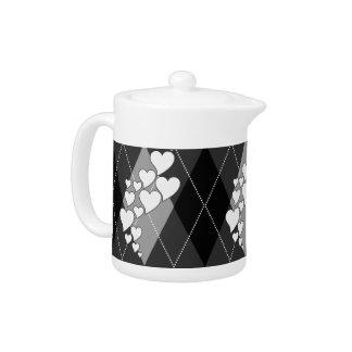 Diamond Swirling Hearts Argyle (Black And White)