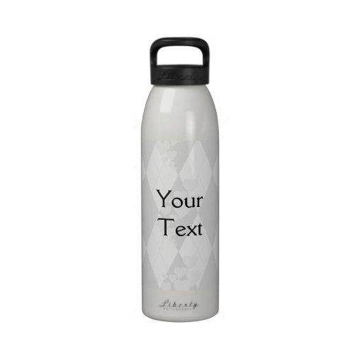 Diamond Swirling Hearts Argyle (Black And White) Water Bottle