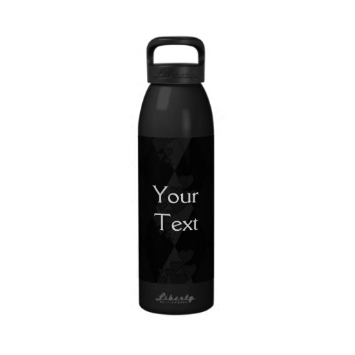 Diamond Swirling Hearts Argyle (Black And White) Reusable Water Bottles