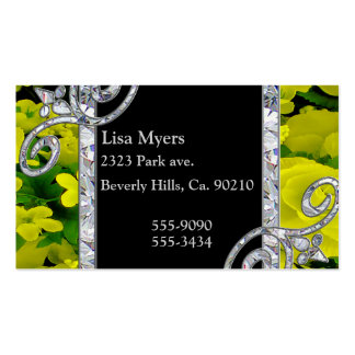 Diamond Swirls & Yellow Roses Double-Sided Standard Business Cards (Pack Of 100)