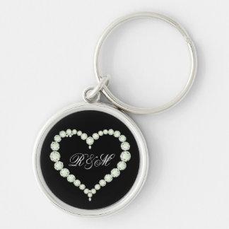 "Diamond Themed Monogram ""His and Her"" initials Keychain"