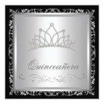 Diamond Tiara Black Damask Quinceanera Custom Invitation