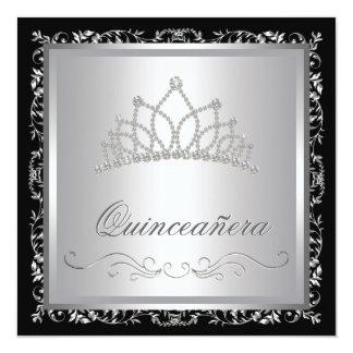 "Diamond Tiara Black Damask Quinceanera 5.25"" Square Invitation Card"