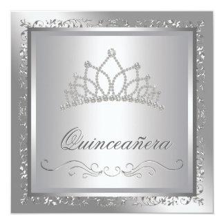 "Diamond Tiara Elegant Silver Damask Quinceanera 5.25"" Square Invitation Card"