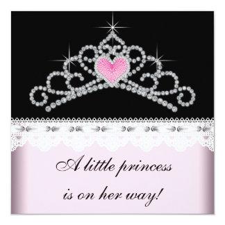 """Diamond Tiara Pink Black Princess Baby Shower 5.25"""" Square Invitation Card"""