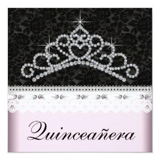 Diamond Tiara Pink Black Sweet 15 Quinceanera 5.25x5.25 Square Paper Invitation Card